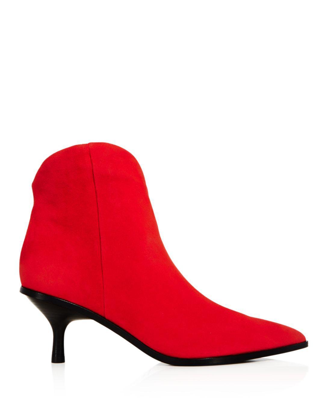 1bd1f9762fb Sigerson Morrison Suede Women's Hayleigh Kitten-heel Booties in Red ...