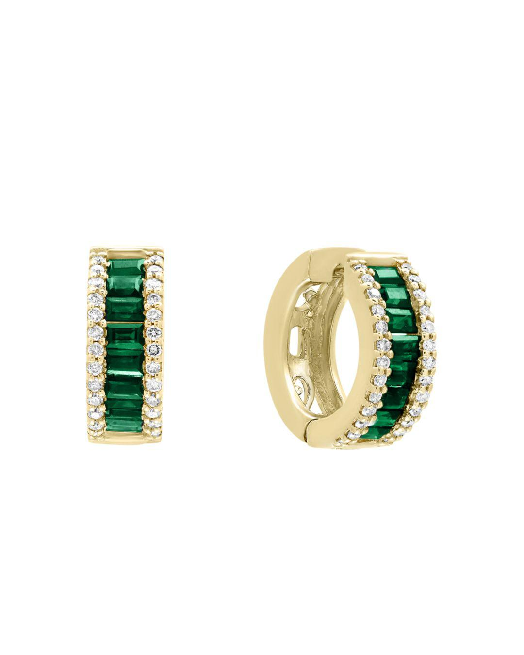 2fe95d0ae2a285 Bloomingdale's. Women's Emerald And Diamond Hoop Earrings In 14k Yellow Gold