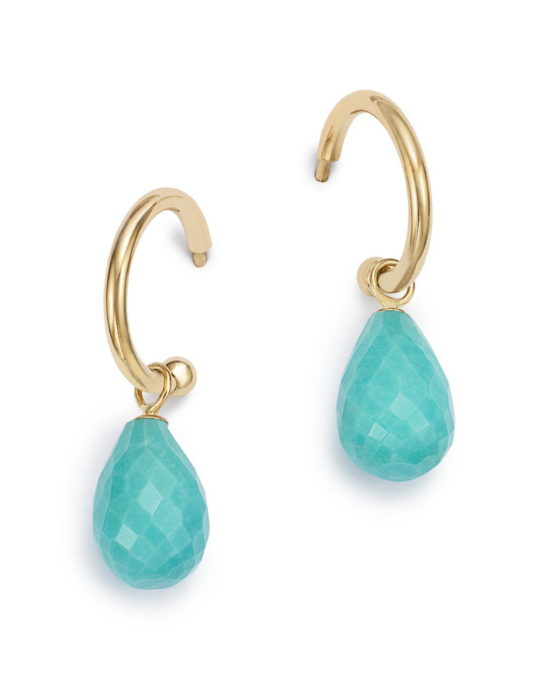 7884f17547f Bloomingdale s. Women s Blue Turquoise Briolette Hoop Drop Earrings In 14k  Yellow Gold
