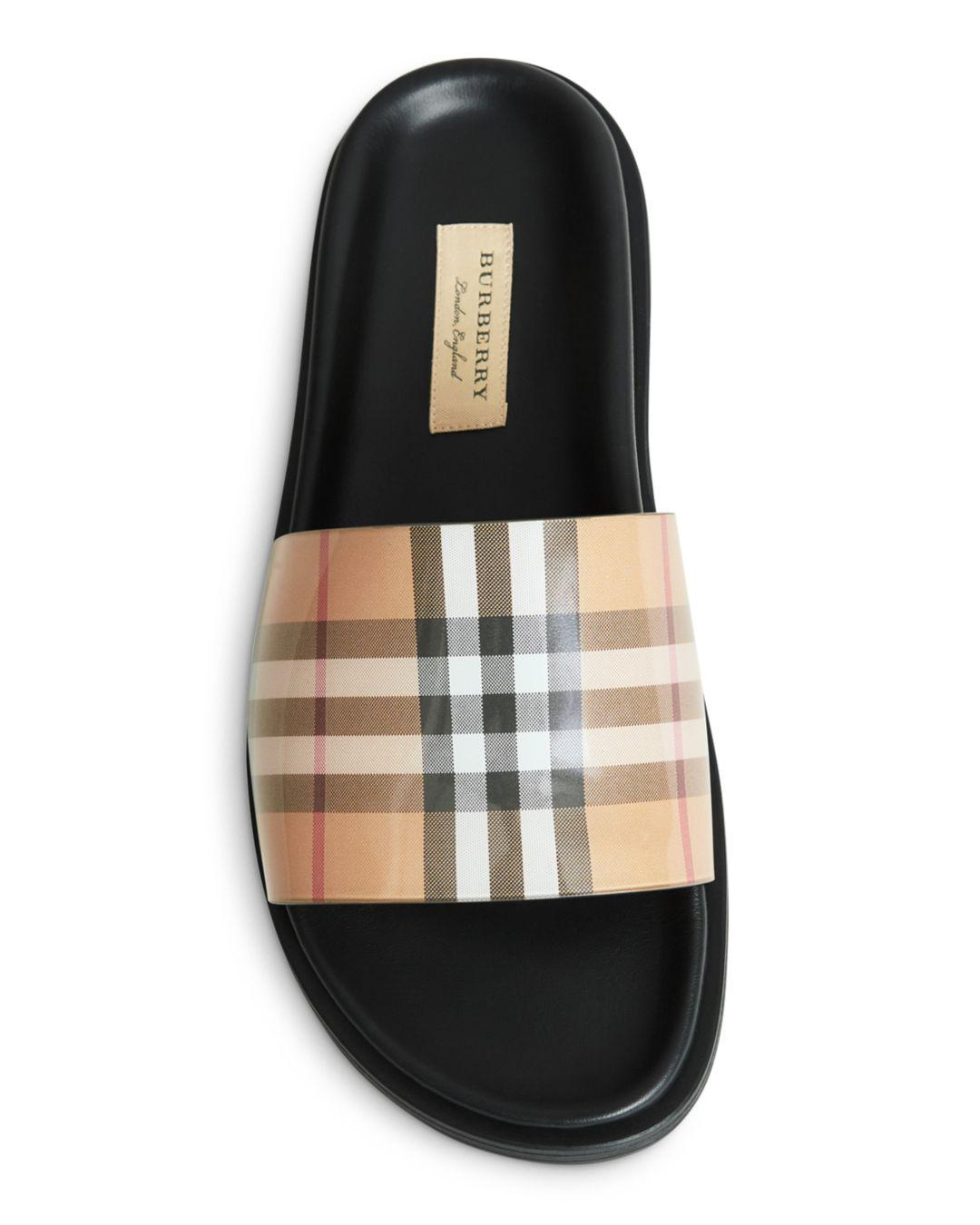 4bcae1362df Burberry - Multicolor Vintage Check And Leather Slides - Lyst. View  fullscreen