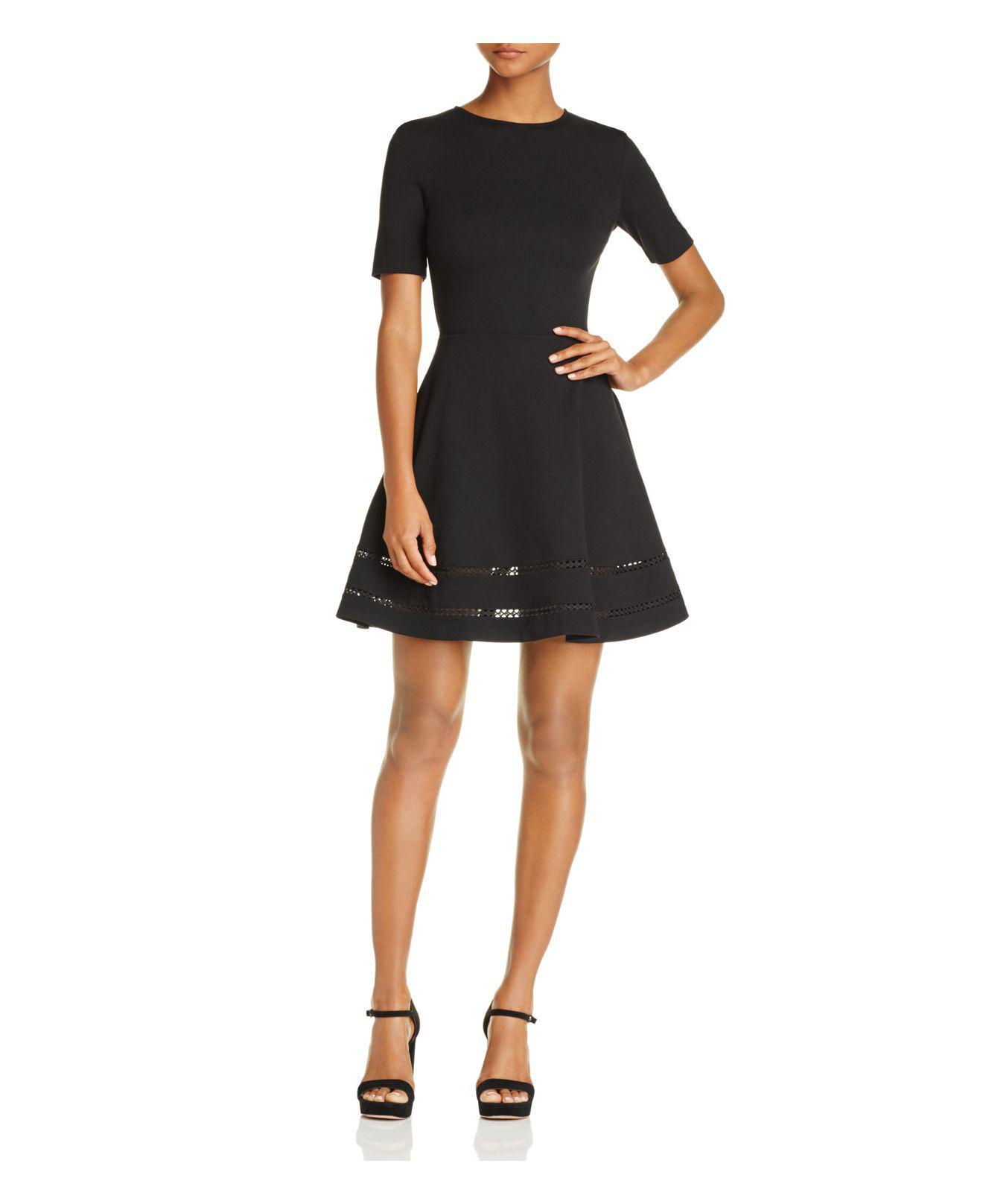 Aqua Crochet Inset Fit And Flare Dress In Black Lyst