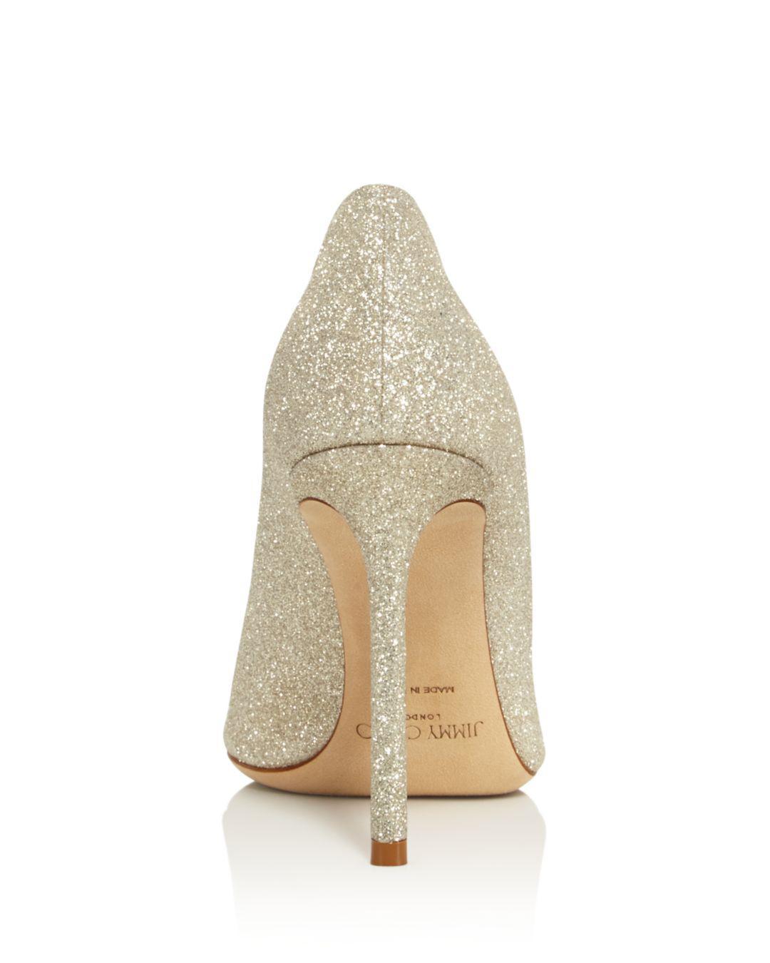 8258b29155d7 Jimmy Choo - Metallic Women s Romy 100 Glitter Leather High-heel Pumps -  Lyst. View fullscreen