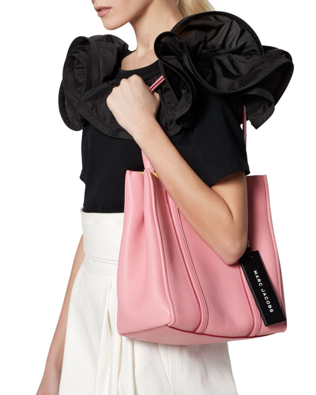 177ba733cf45 Marc Jacobs Tag Leather Tote 27 in Pink - Lyst