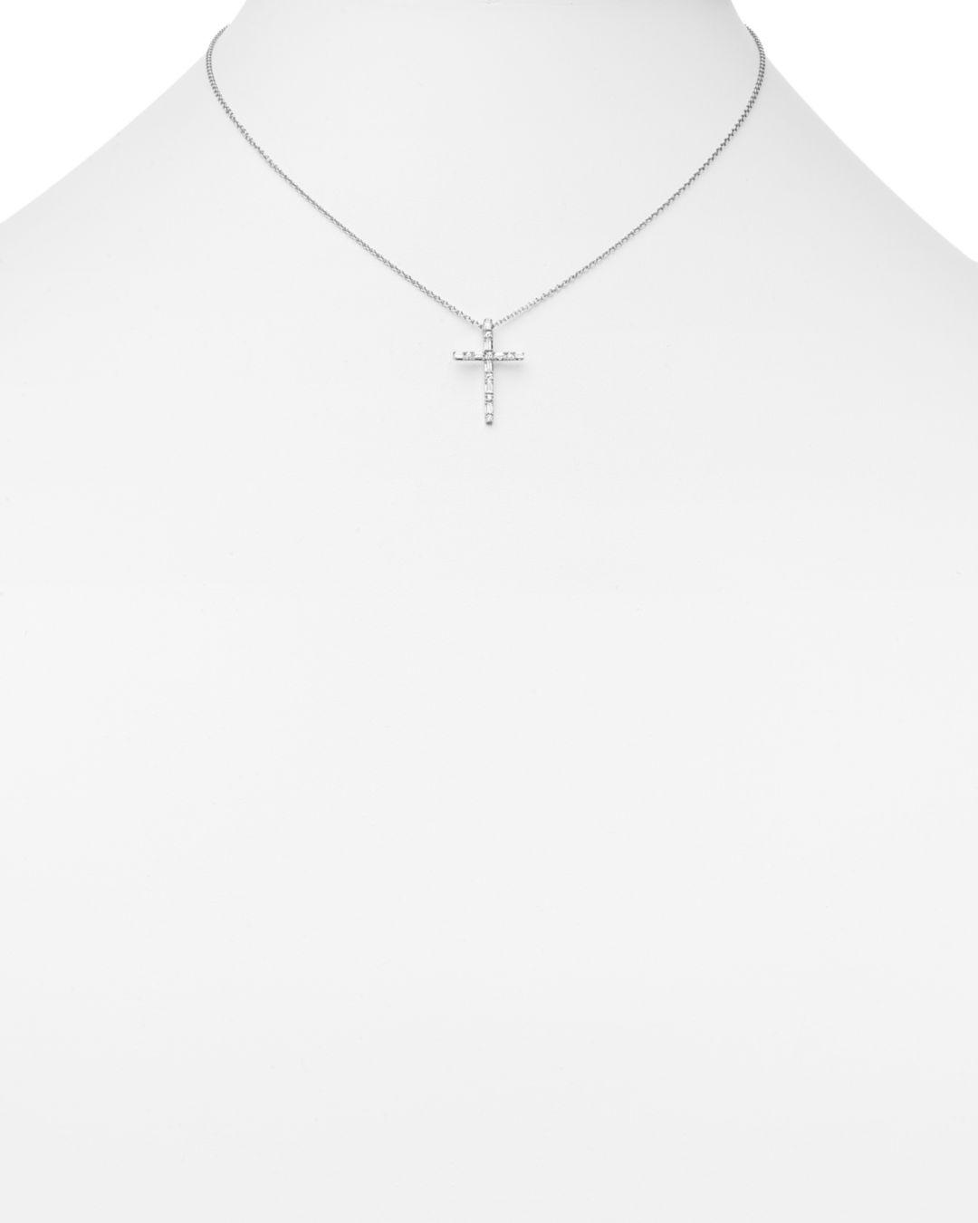 Bloomingdale's Diamond Baguette And Round Cross Pendant Necklace In 14k White Gold