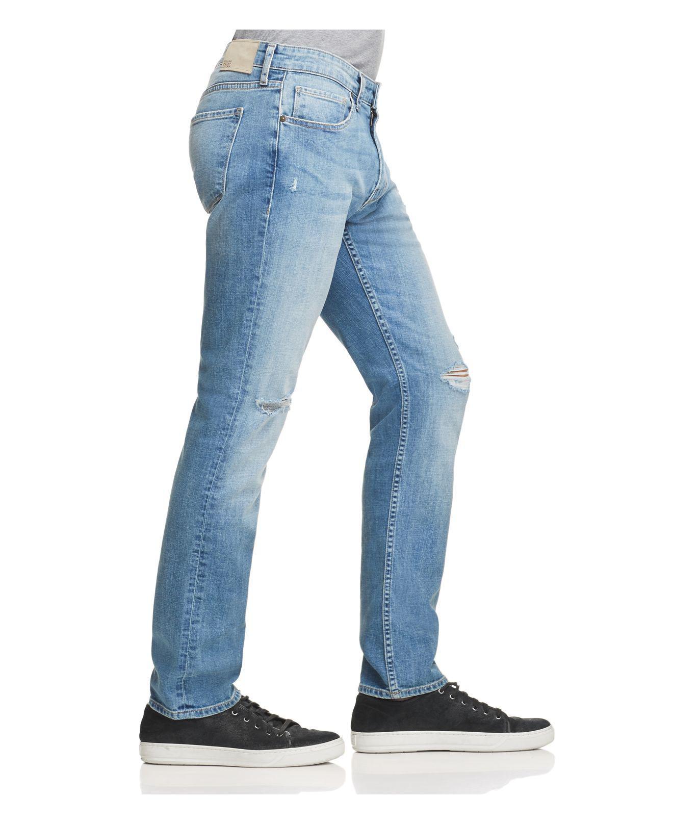 PAIGE Denim Lennox Super Slim Jeans In Burke Destructed in Blue for Men