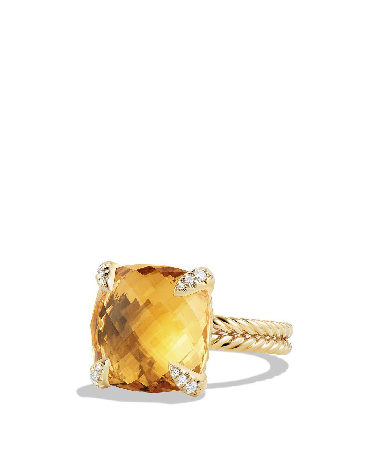 David Yurman Chatelaine Ring With Citrine And Diamonds In