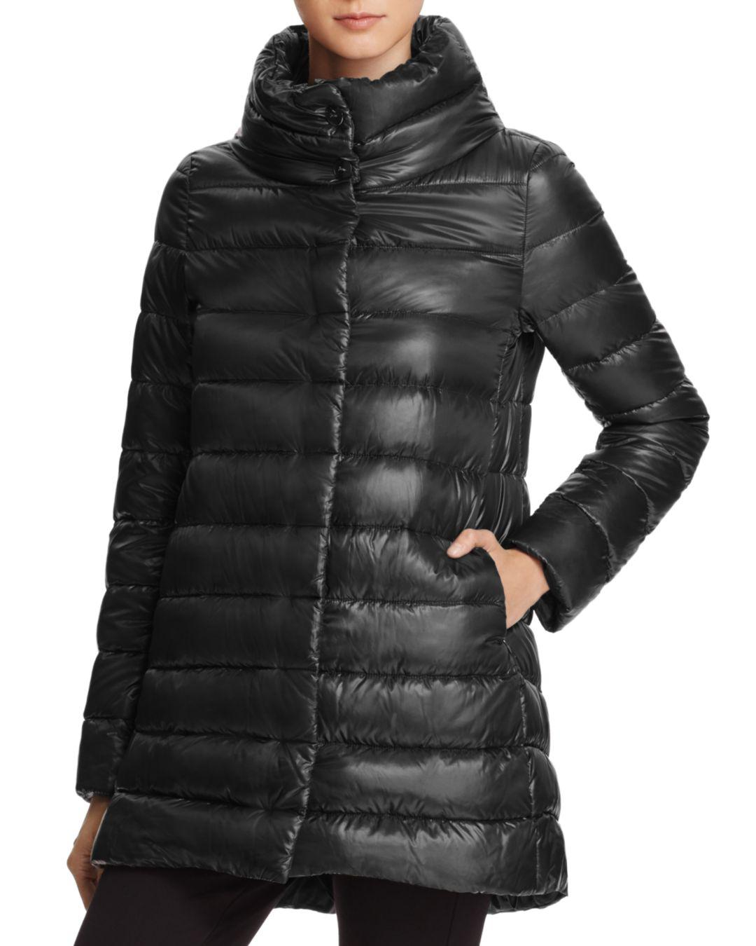 Lyst Herno Stand Collar Down Coat In Black
