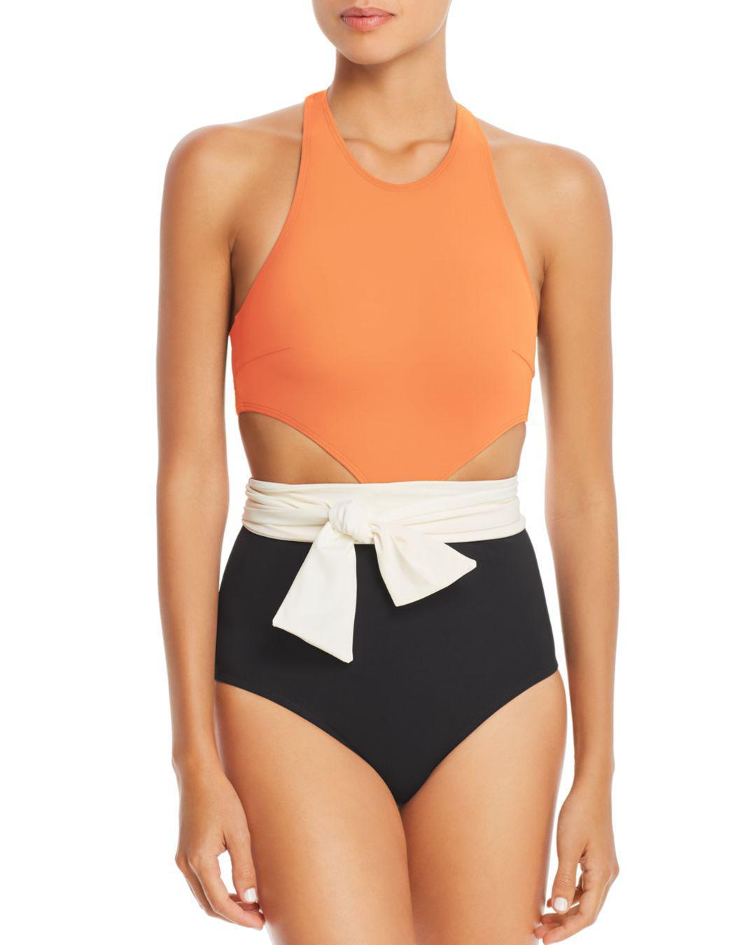 8243eaadd3 Flagpole Swim Lynn Color-block One Piece Swimsuit in Orange - Lyst