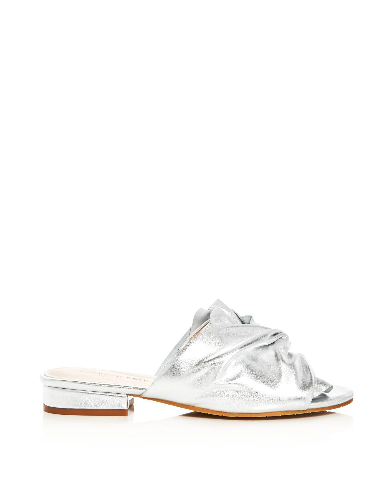 Kenneth Cole Violet Metallic Knot Slide Sandals 9C3vCu