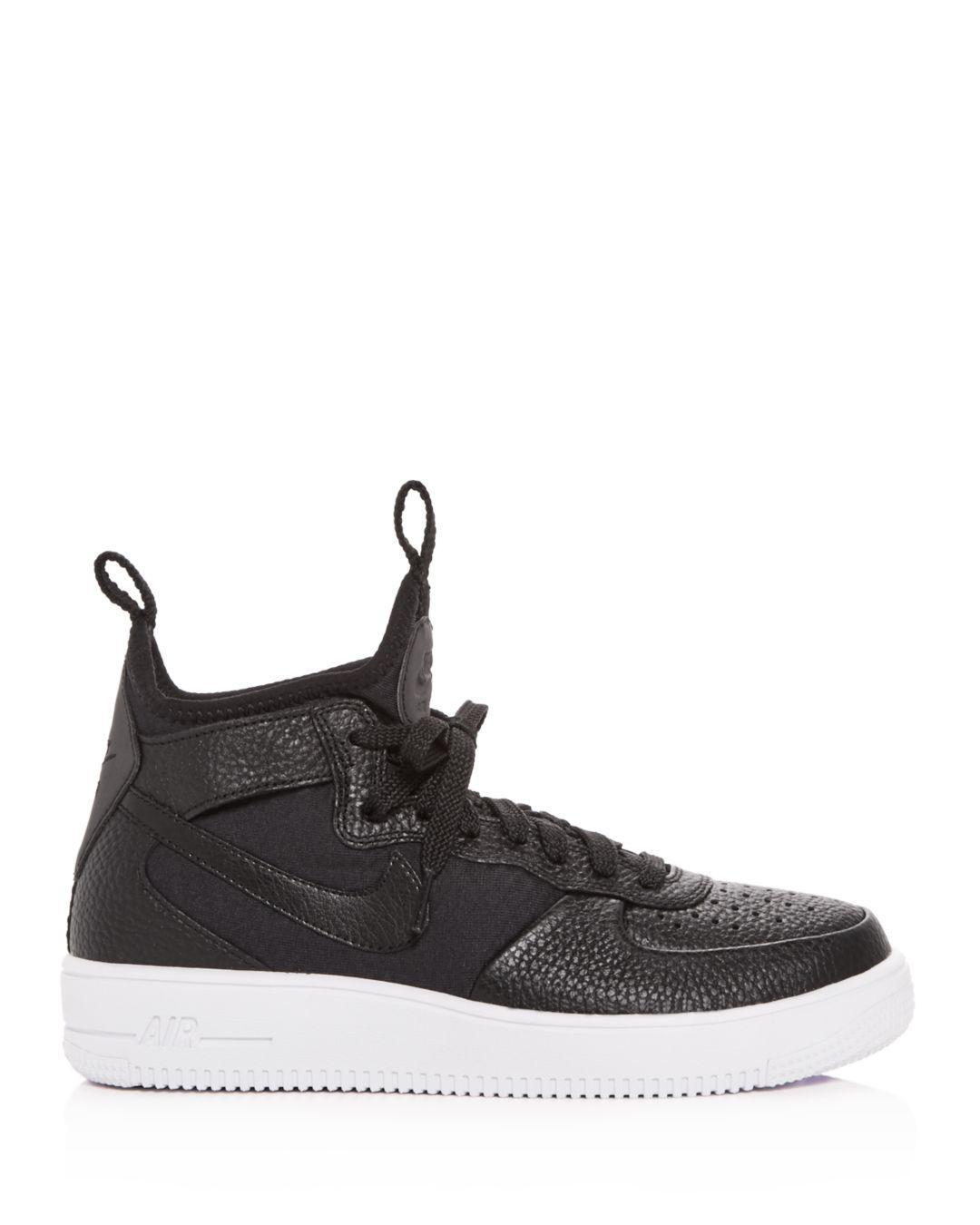 b9ebc789d9f05c Lyst - Nike Women s Air Force 1 Ultraforce Leather Mid Top Sneakers in Black