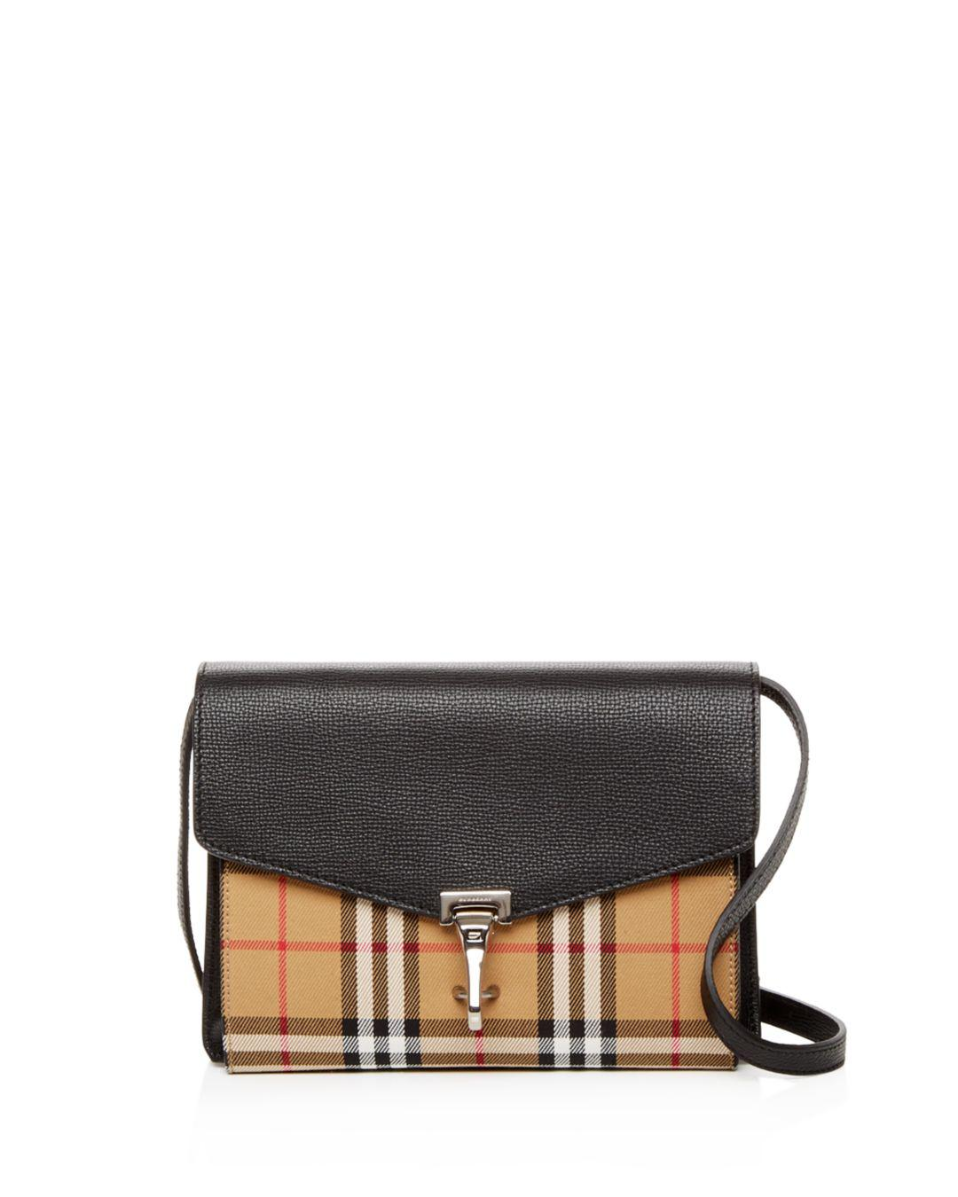 Lyst - Burberry Macken Vintage Check   Leather Shoulder Bag in Black e212d93fcdc0c