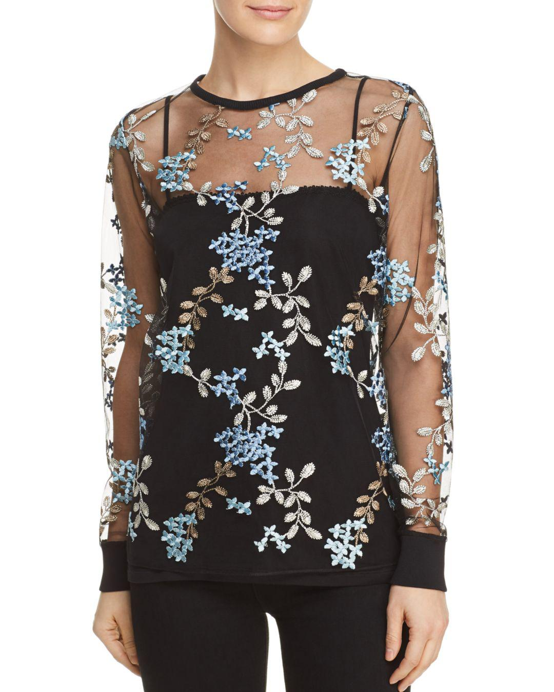 55b4b4abe9dd1f Lyst - Elie Tahari Val Floral Embroidered Top in Black