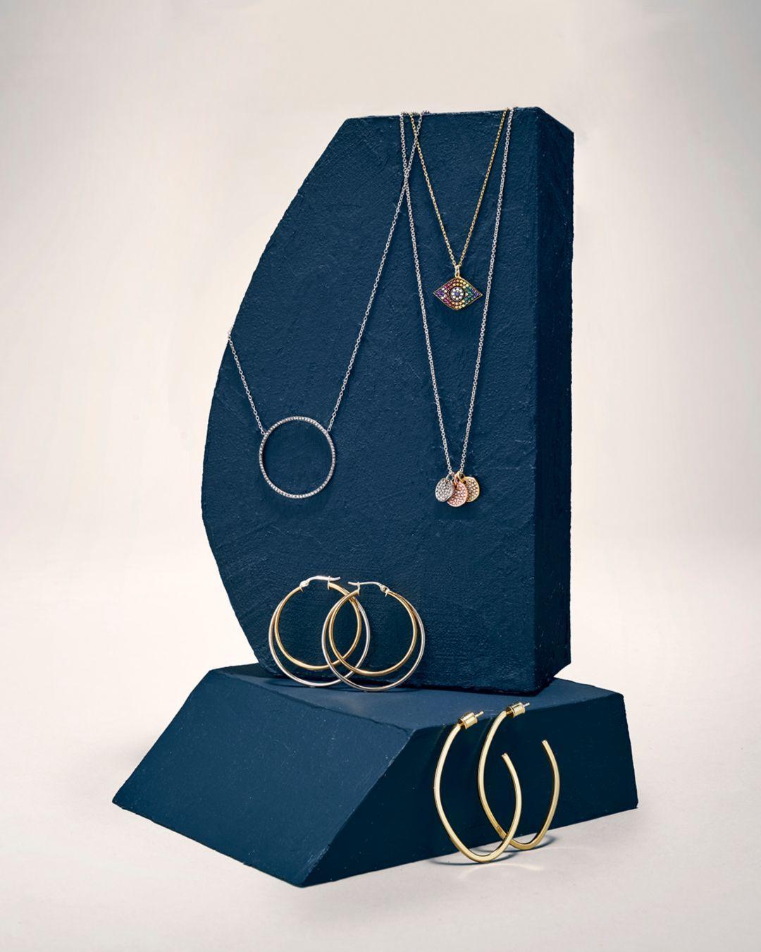 Aqua Pavé Tricolor Disc Pendant Necklace In Platinum - Plated Sterling Silver
