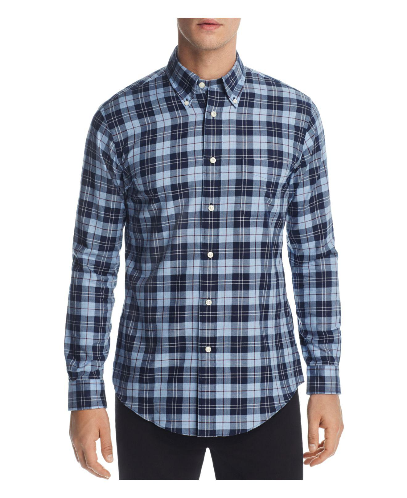 Lyst brooks brothers flannel slim fit button down shirt for Athletic fit button down shirts