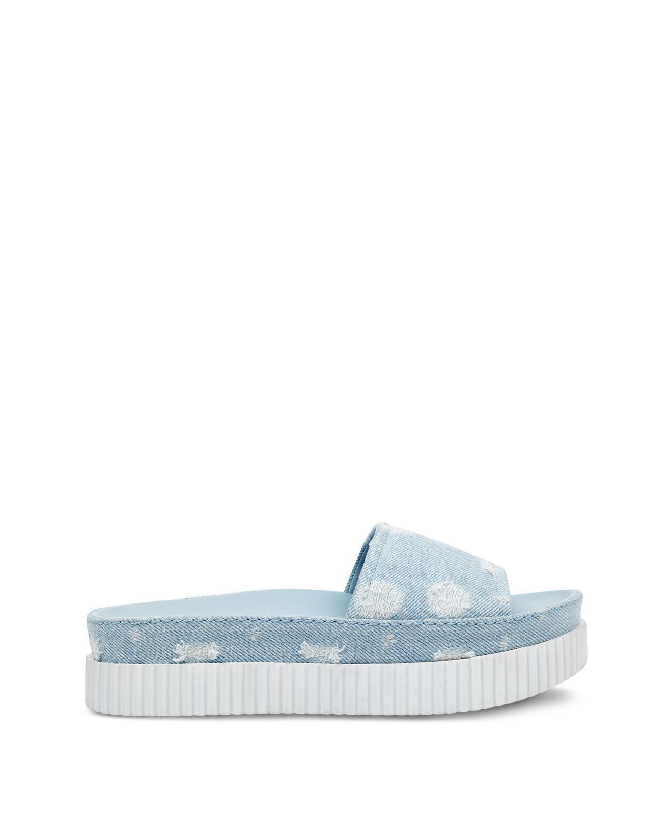 Kendall And Kylie Isla Dot-Distressed Denim Slide Sandals - 100% Exclusive kfYZ9o