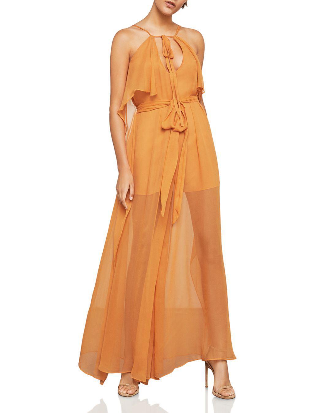 e2488da8b3ed Lyst - BCBGMAXAZRIA Sleeveless Silk Chiffon Halter Jumpsuit in Orange