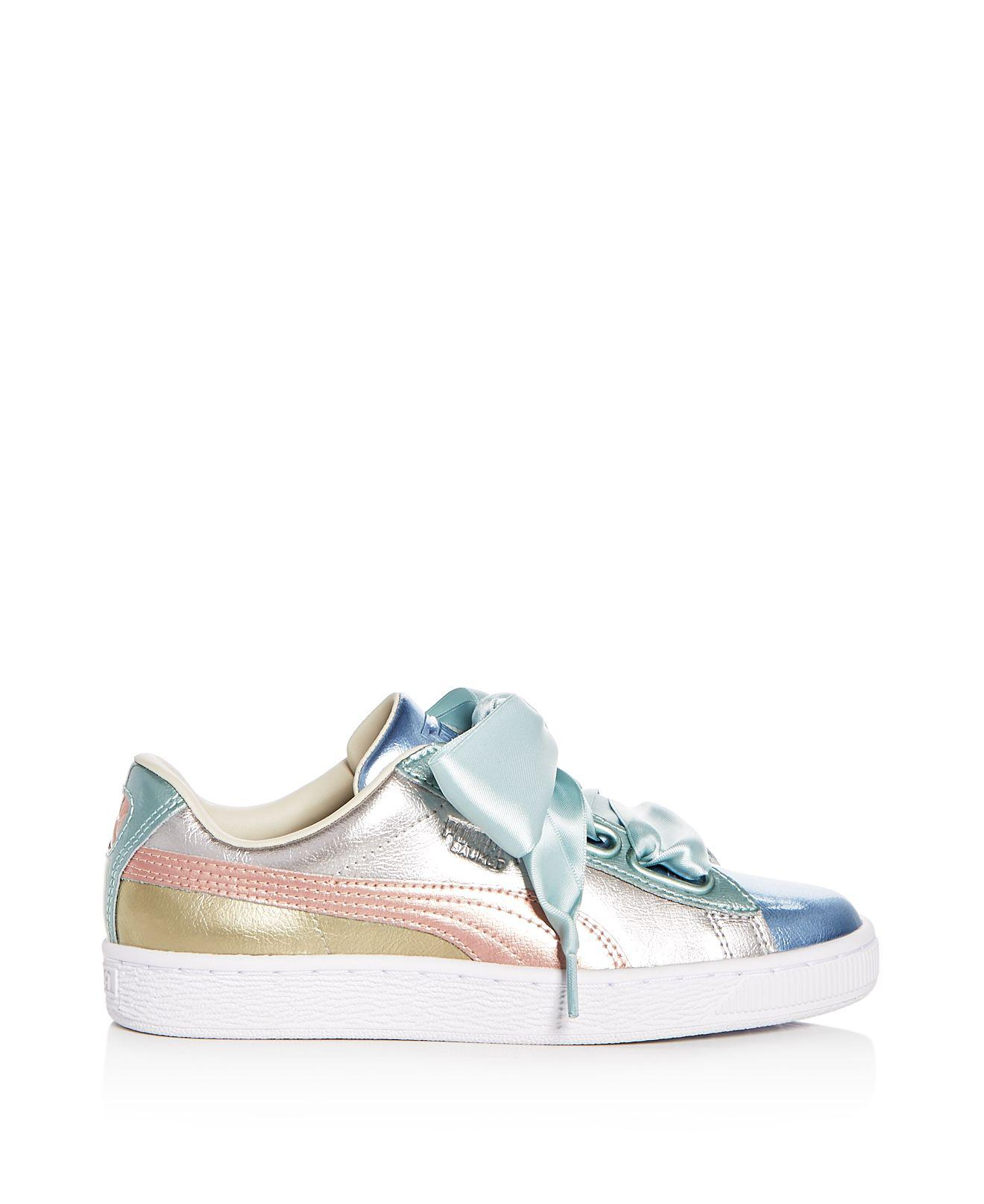 low priced 0ac97 ec49b PUMA Gray Women's Basket Heart Bauble Leather & Suede Lace Up Sneakers