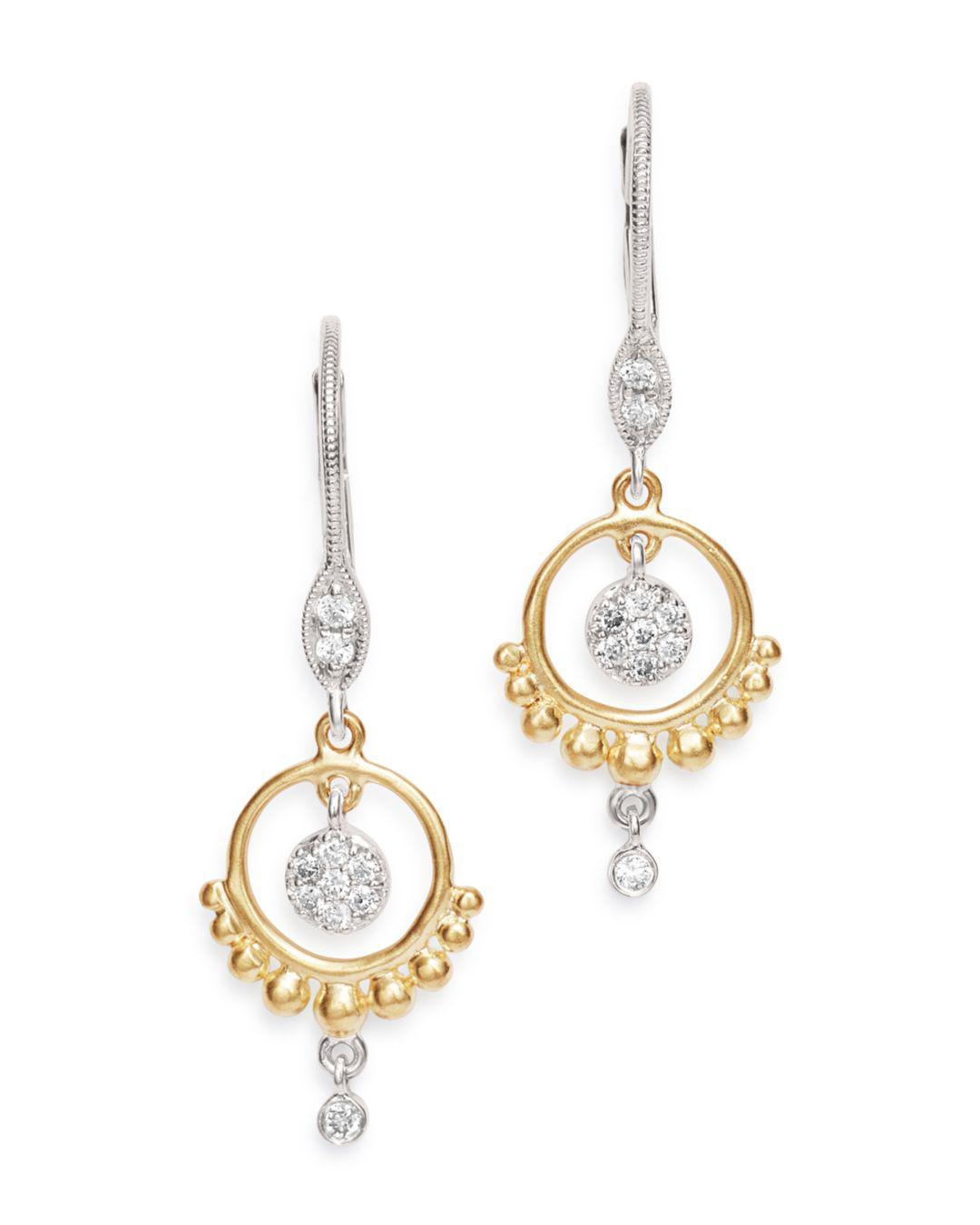 Meira T Women S 14k Yellow White Gold Open Circle Diamond Dangle Earrings