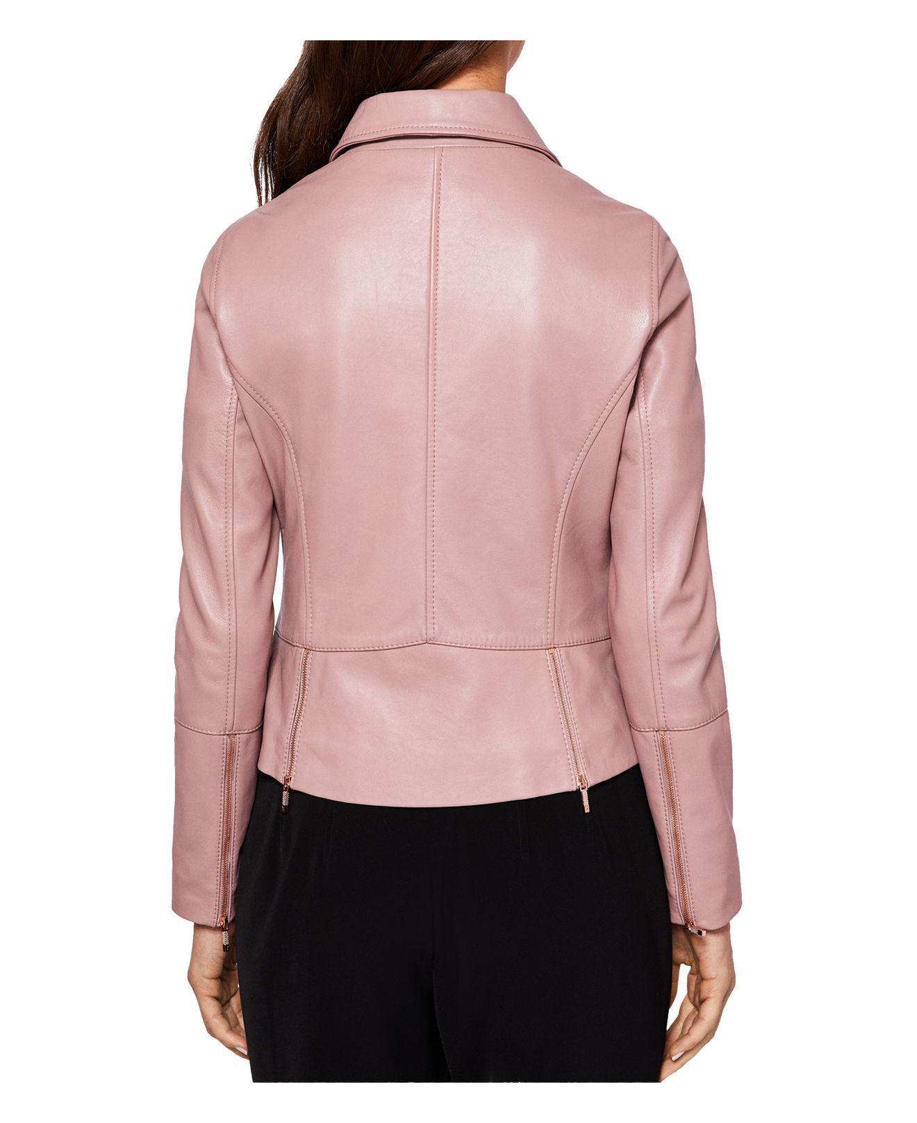 32b1f654a Ted Baker Pink Lizia Leather Biker Jacket