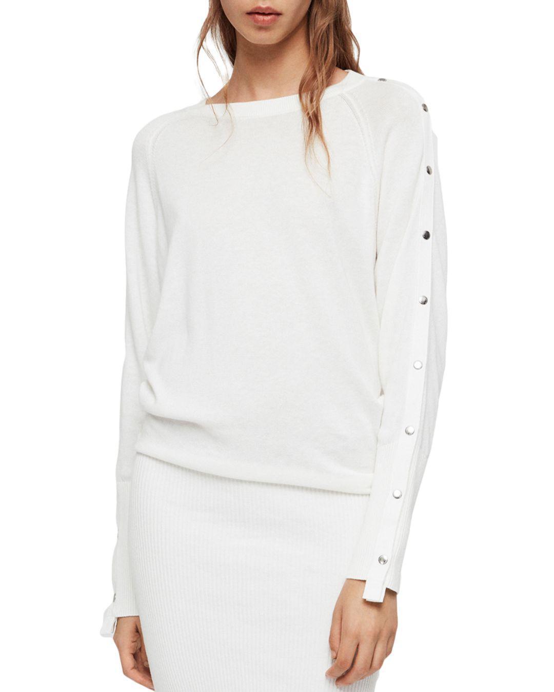 8ecae3f460d AllSaints Suzie Snap-sleeve Sweater Dress in White - Lyst