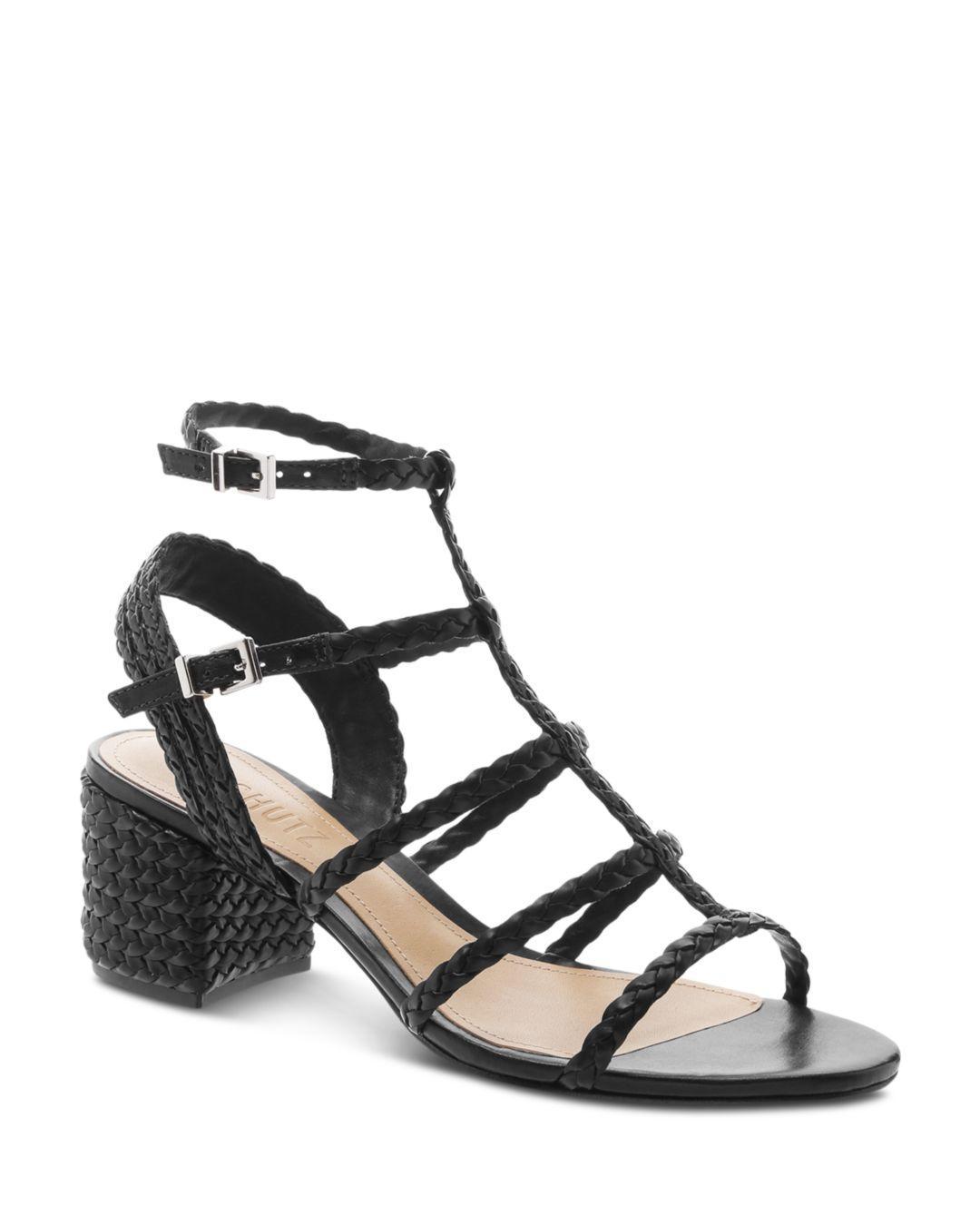 8239073363 Schutz Rosalia Braided Leather Caged Sandals in Black - Save 28% - Lyst