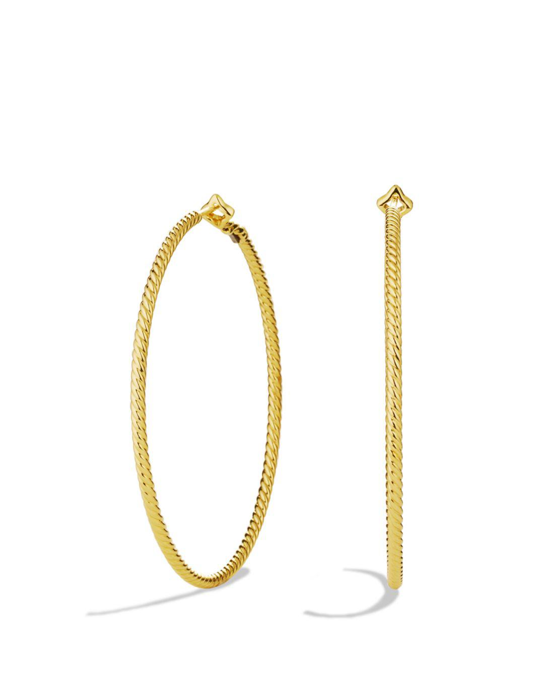3542cf8f36a48 Women's Yellow Cable Classics Hoop Earrings In Gold