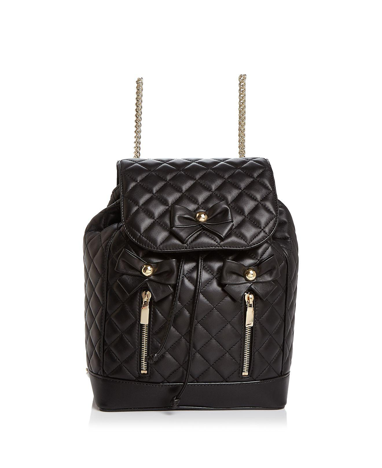 Lyst - Boutique Moschino Bow Quilted Leather Backpack in Black 2d33f3769ebb3
