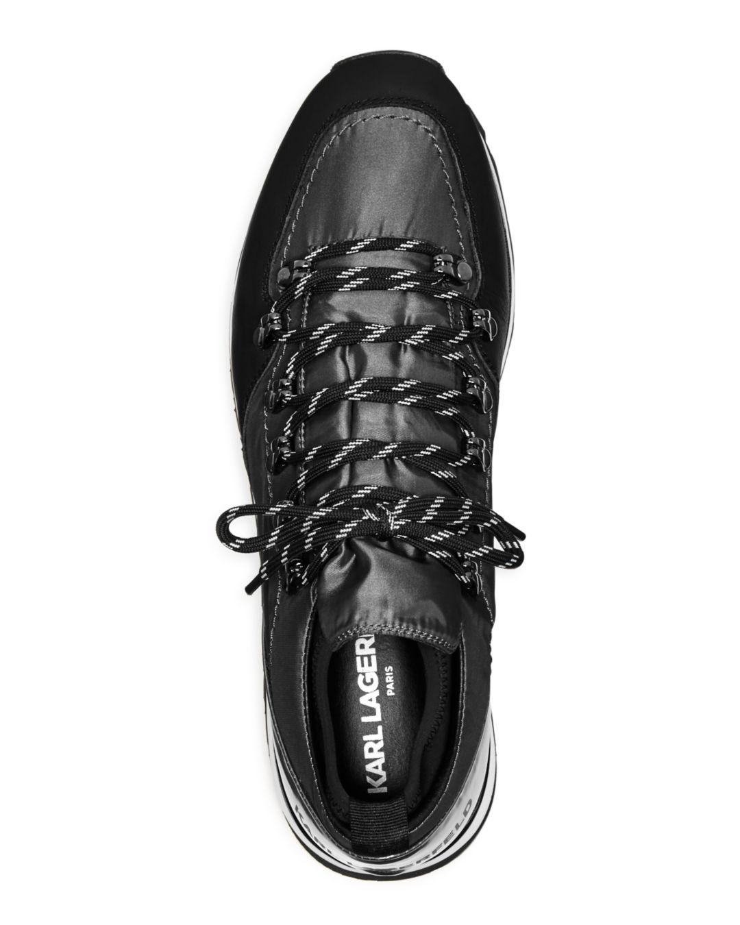 b2c424cc47d7 Lyst - Karl Lagerfeld Men s Mixed-media Lace-up Sneakers in Gray for Men