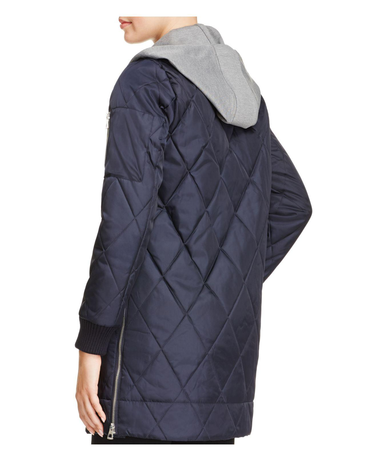 Vince Camuto Long Quilted Bomber Jacket In Navy Blue Lyst