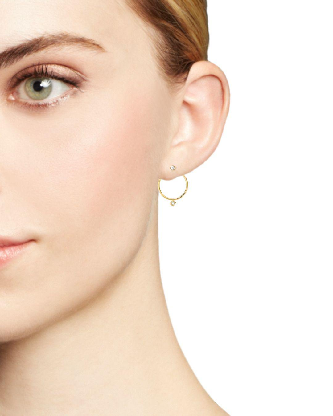 Zoe Chicco 14k Yellow Gold Diamond Circle Ear Jackets in White/Gold (Metallic)