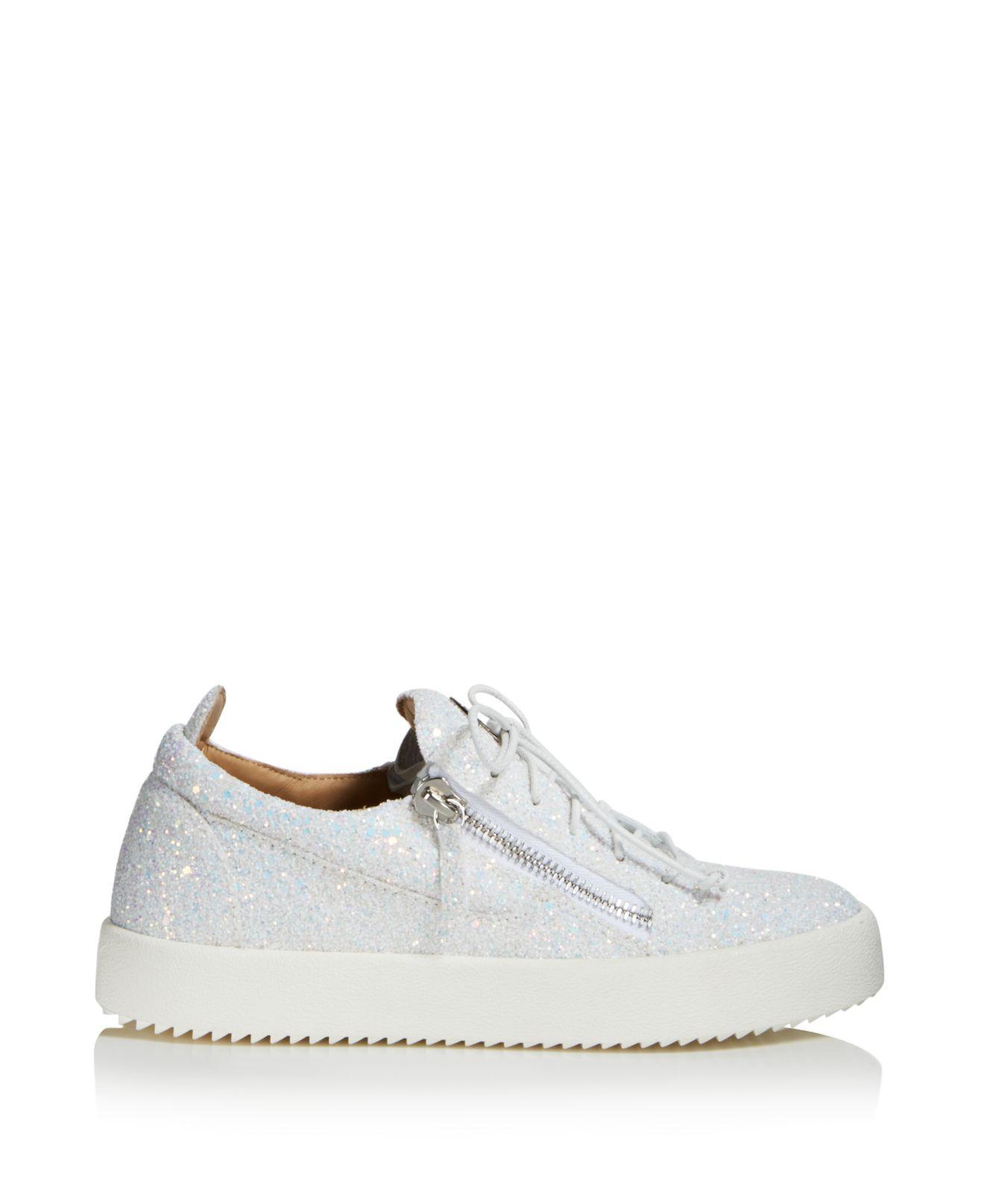 Giuseppe Zanotti Women's Glitter Leather May London Lace Up Sneakers