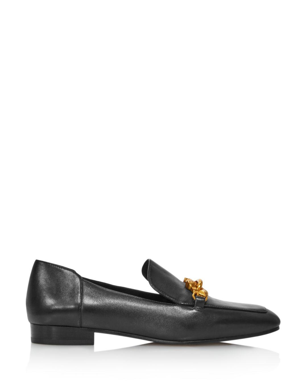 00454666edf Lyst - Tory Burch Women s Jessa Almond-toe Leather Loafers in Black - Save  33%