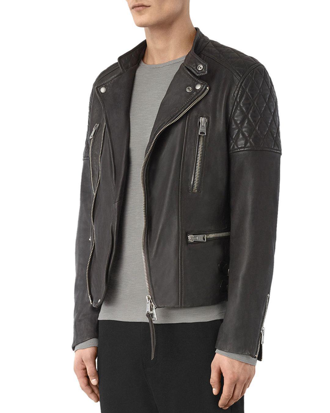AllSaints Leather Slade Biker Jacket in Anthracite Gray (Grey) for Men