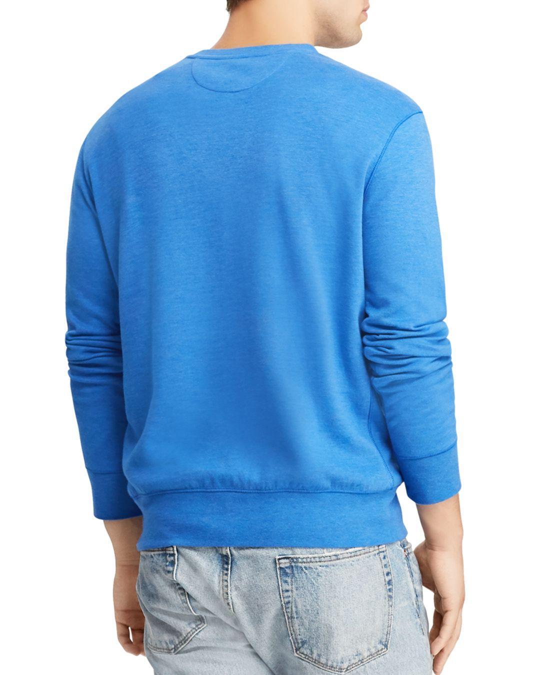 6d0e3b146ad25 Lyst - Polo Ralph Lauren Lux Jersey Crewneck Sweatshirt in Blue for Men -  Save 30%