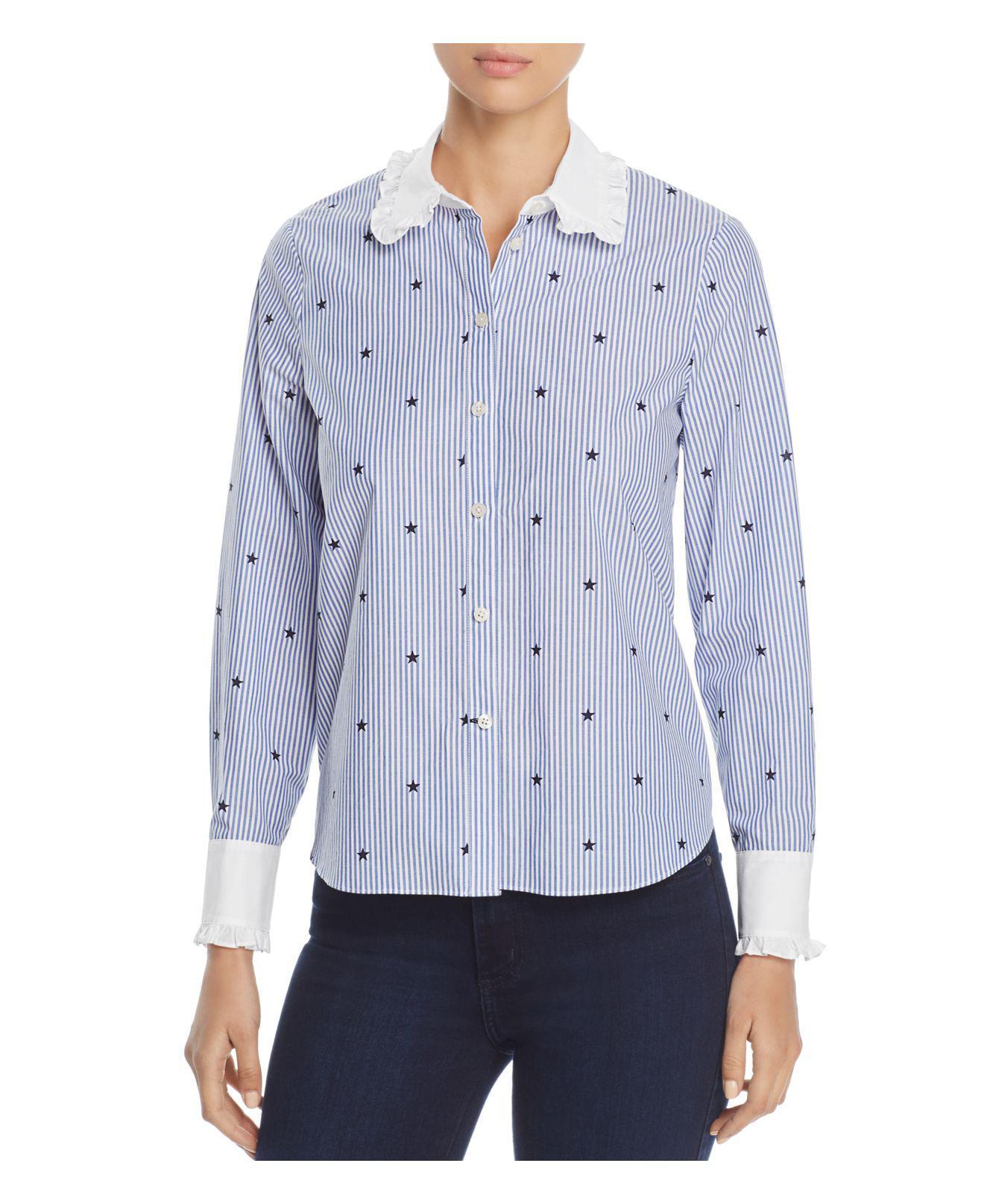 d784924f41 Lyst - Kate Spade Twinkle Star Stripe Ruffle Shirt in Blue