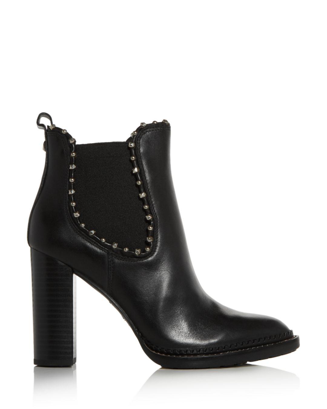 4c85a9e3c1c Sam Edelman Black Women's Salma Studded High Block-heel Booties