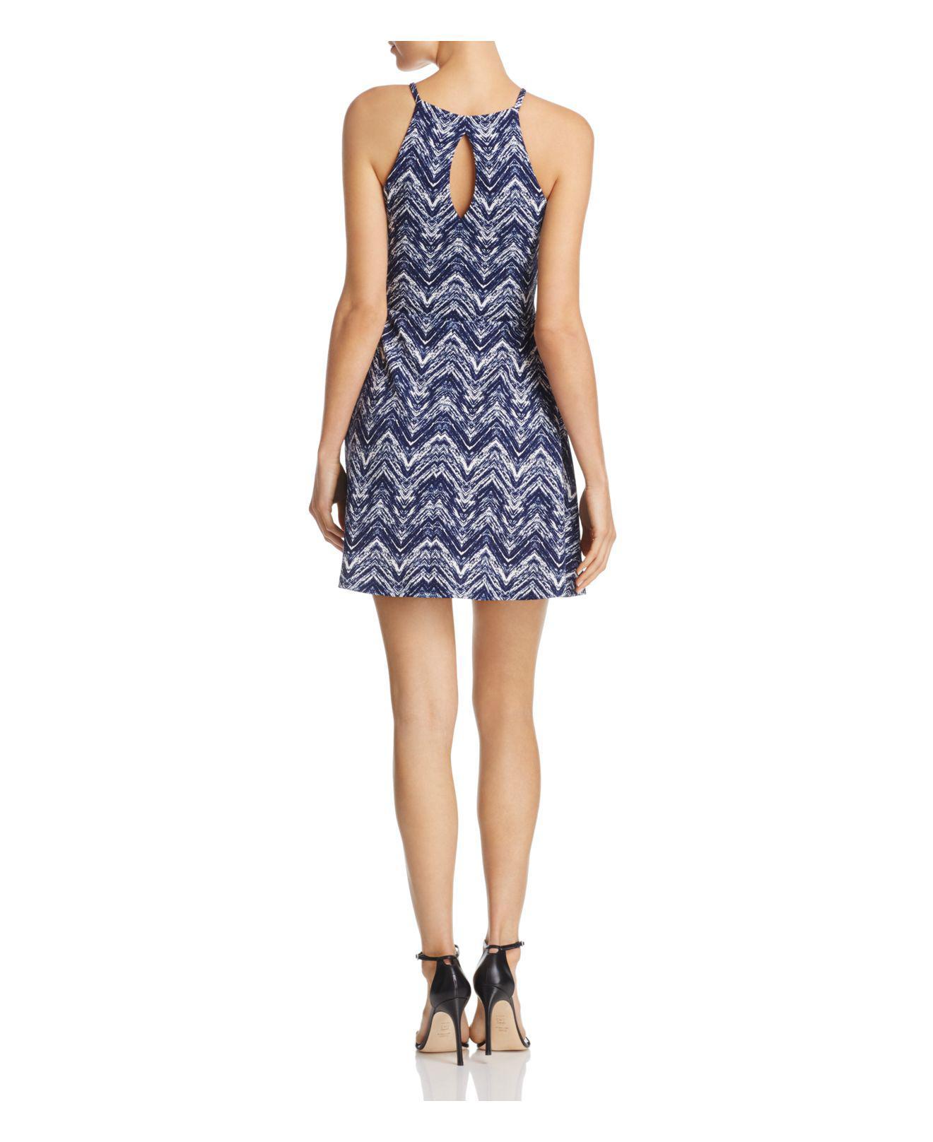 Aqua Halter Neck Fit Amp Flare Dress In Blue Lyst