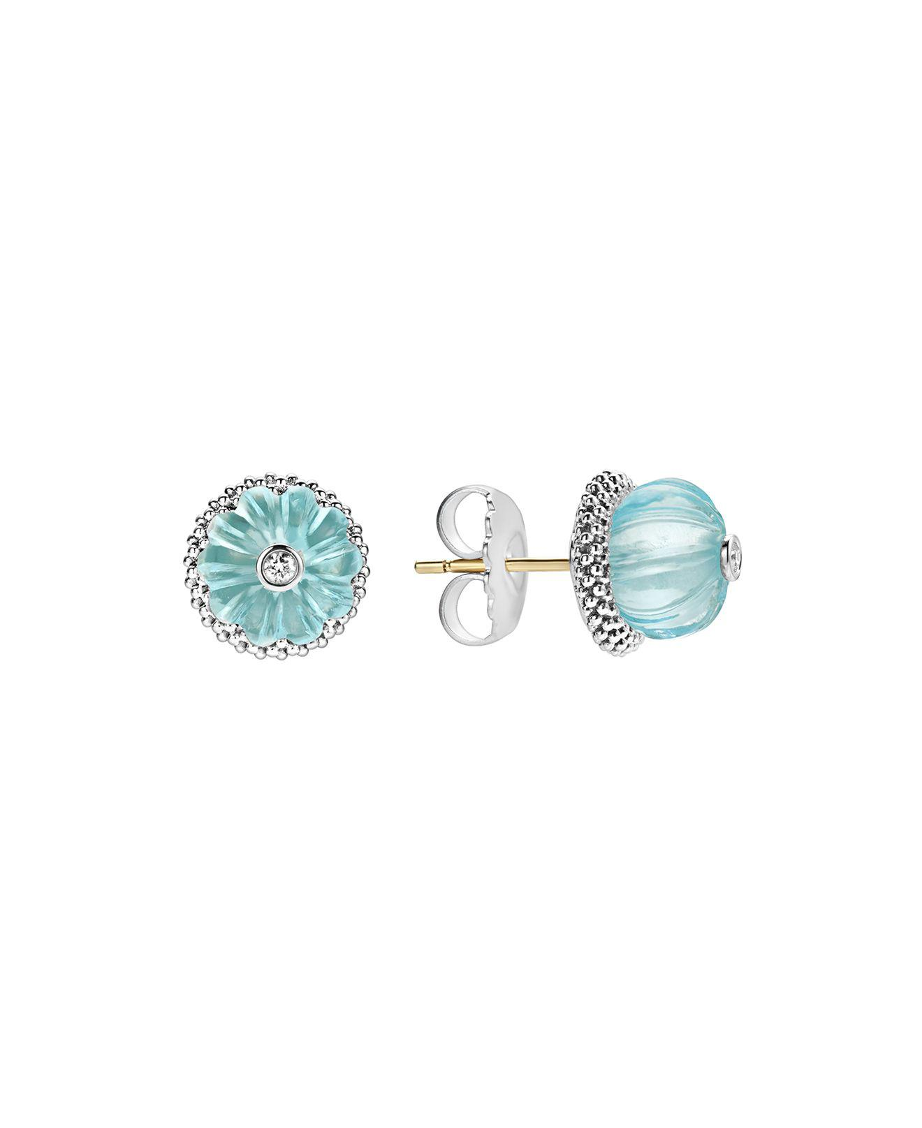 stud lily products with rock aquamarine min silver natural collection shiny by bead double sided in earrings beaded