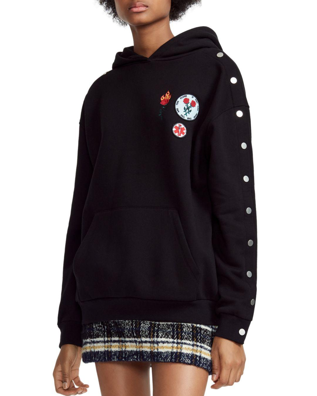 f04c8c5fed Lyst - Maje Theodore Patched Snap-sleeve Hoodie in Black