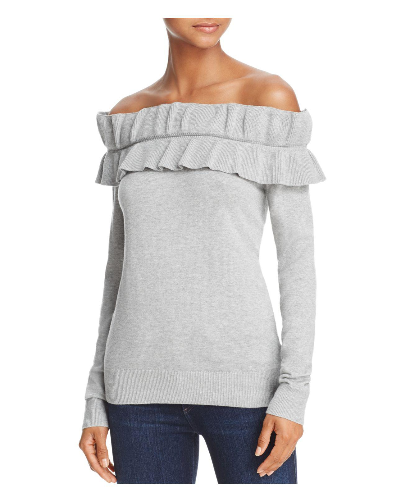 Endless rose Ruffled Off-the-shoulder Sweater in Gray | Lyst