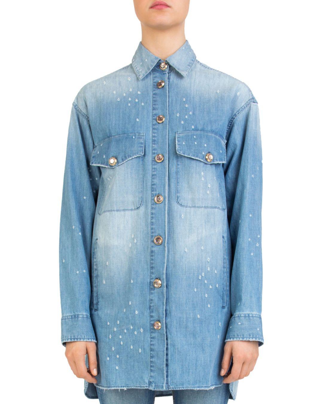 225b89717c Lyst - The Kooples Distressed Denim Overshirt in Blue