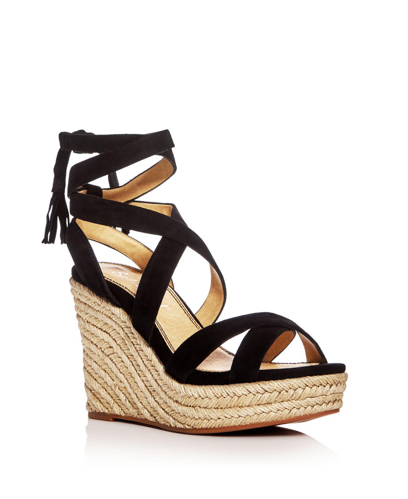 0e09866ec17 Lyst - Splendid Janice Ankle Tie Espadrille Wedge Sandals in Black