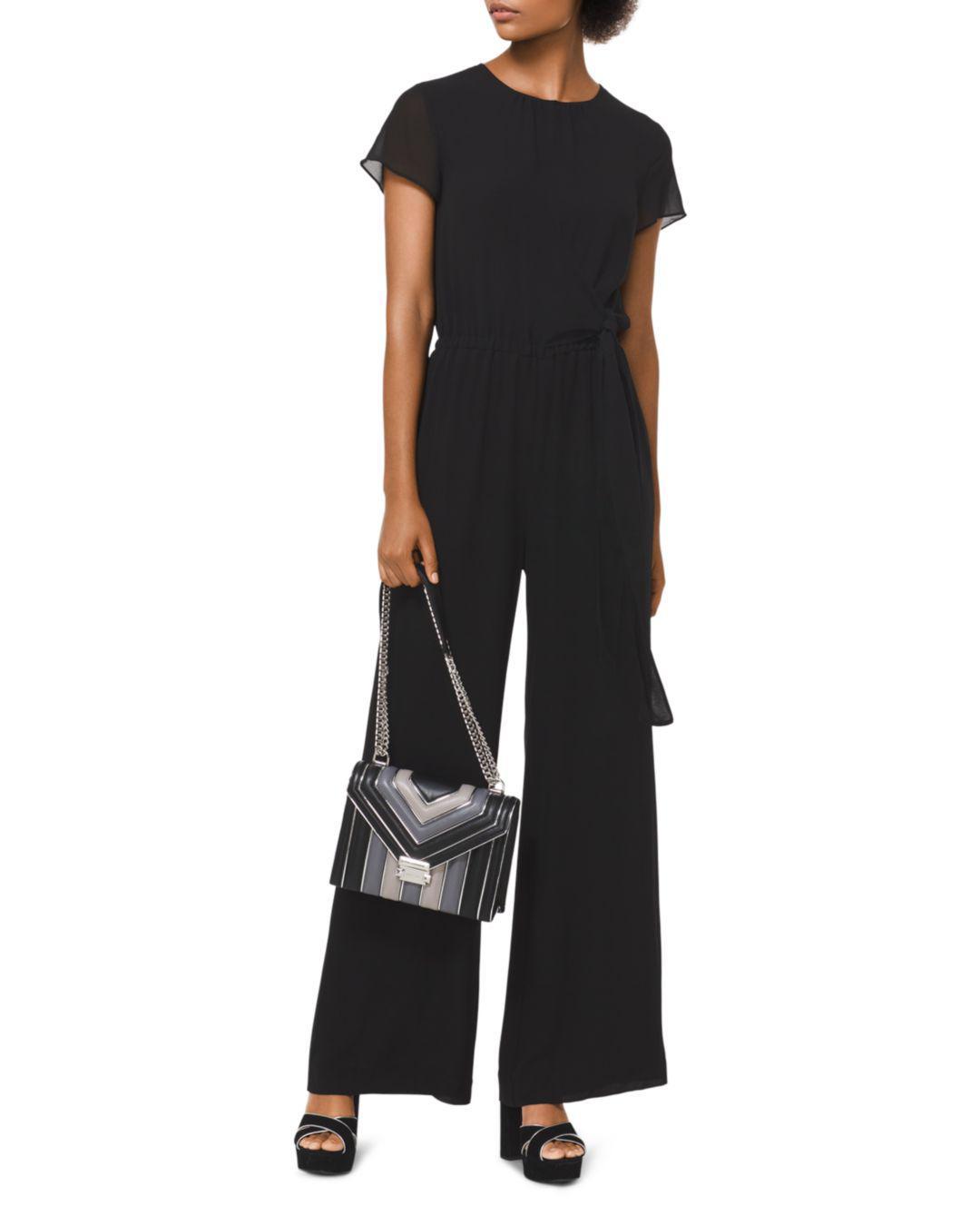 1c76ad168b1 Lyst - MICHAEL Michael Kors Georgette Faux-wrap Jumpsuit in Black