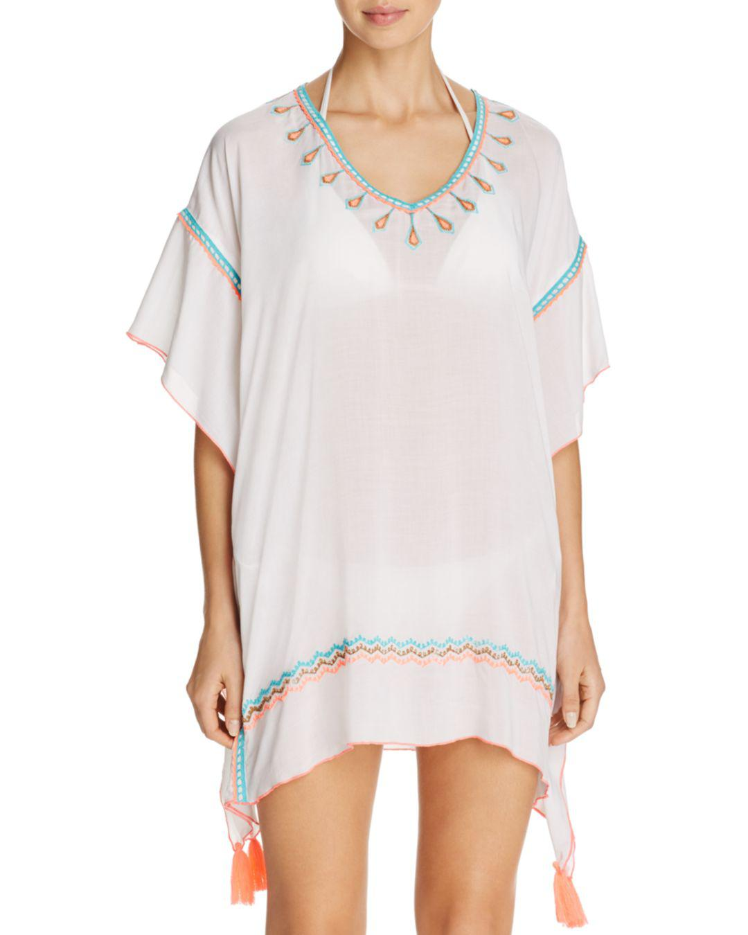 4f11739eaa26f Surf Gypsy Embroidered Poncho Swim Cover-up in White - Lyst