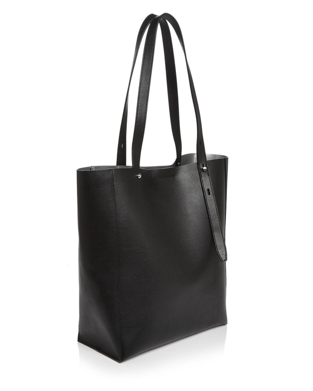 Rebecca Minkoff Leather Stella North South Tote in Black/Silver (Black)