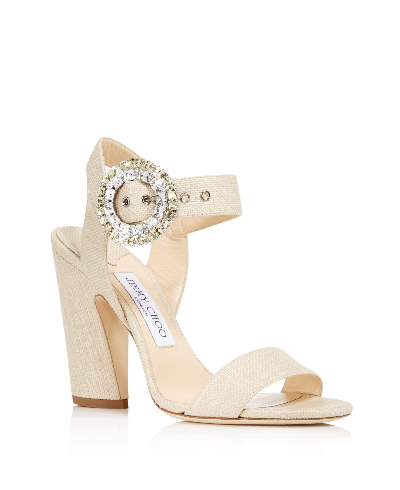 Jimmy choo Women's Mischa 100 Raffia & Leather High-Heel Sandals