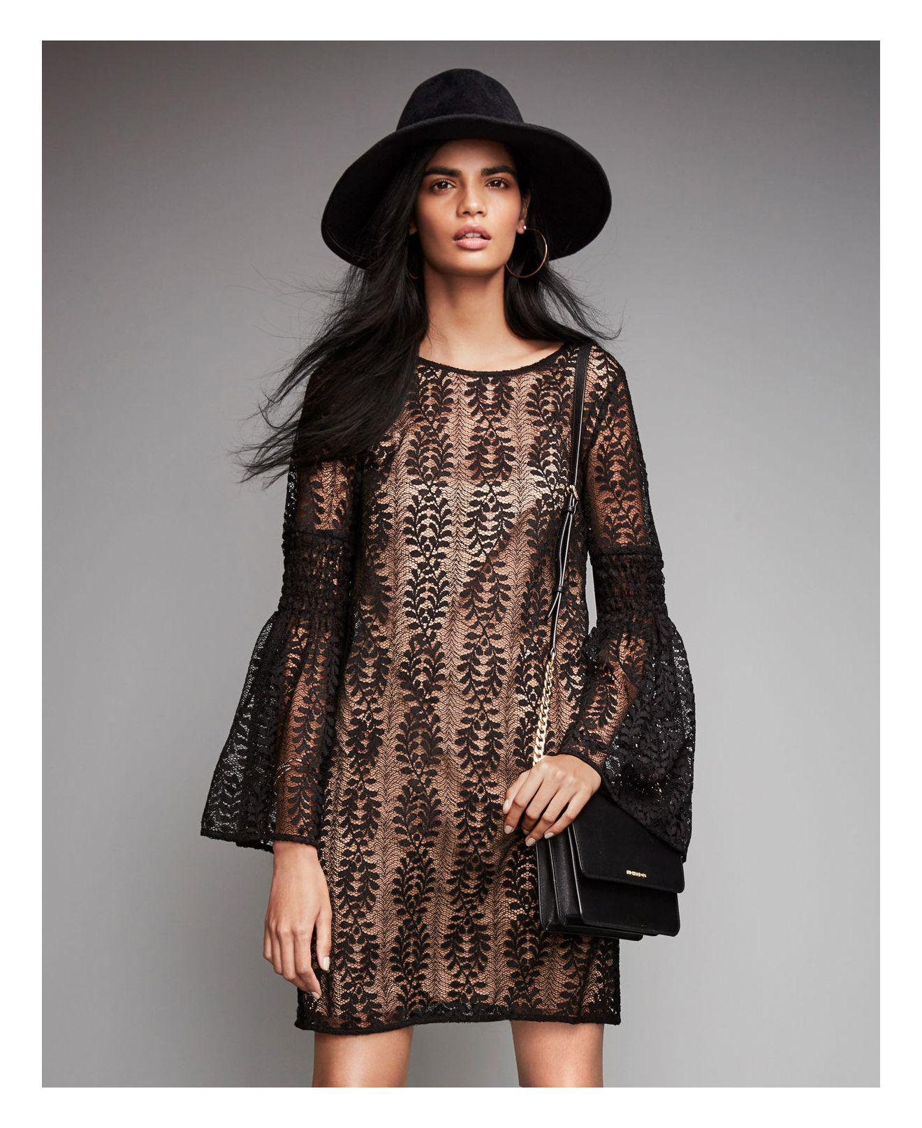 4a9bd445ade Lyst - Michael Kors Lace Bell-sleeve Dress in Black