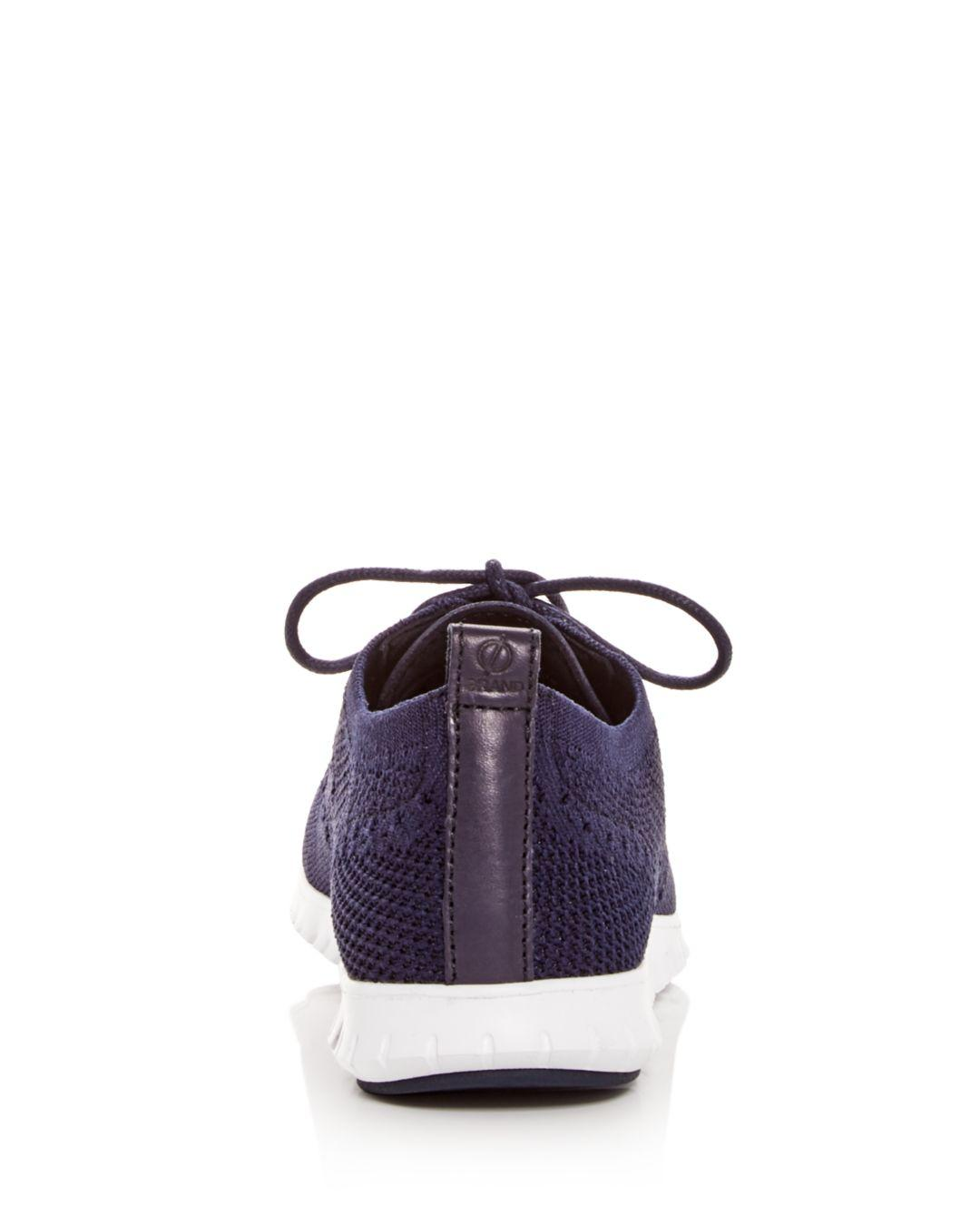 Cole Haan Women's Zerogrand Stitchlite Knit Lace - Up Oxford Sneakers in Marine Blue (Blue)
