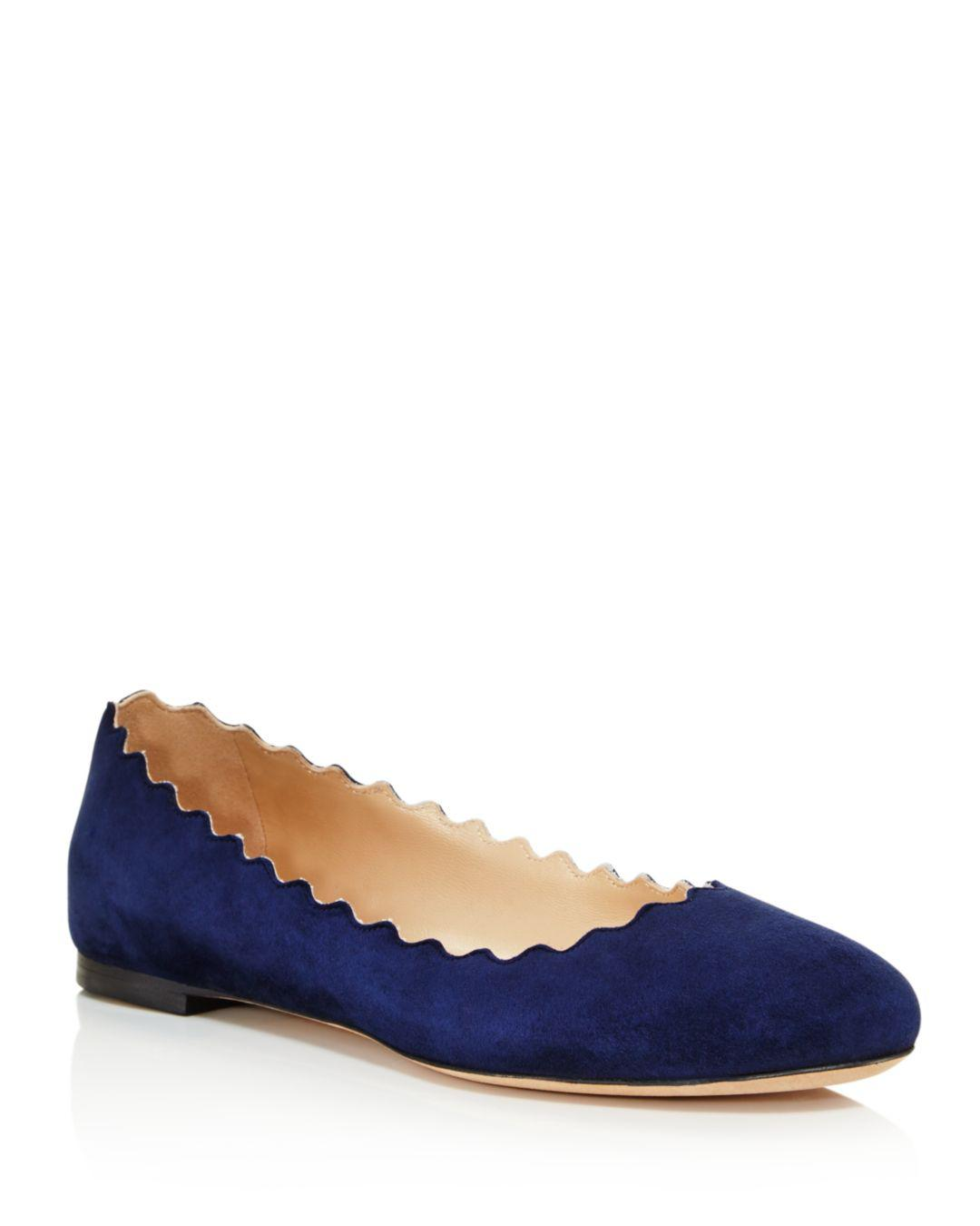 4a13f869a71 Chloé Women s Lauren Scalloped Ballet Flats in Blue - Save 1% - Lyst