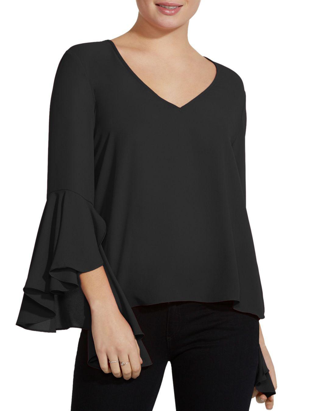 8d9954f1671b0 Lyst - Bailey 44 Tatyana Bell-sleeve Georgette Top in Black